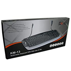 Pixxo Multimedia Keyboard with Web Cam & Microphone Black/Gray color (KM-1301)
